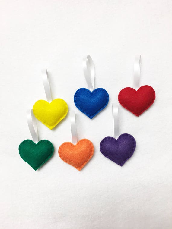 Heart Ornaments, Felt Hearts, Sprinkle Hearts, Valentine Decoration - Primary Colors Rainbow, Set of 6