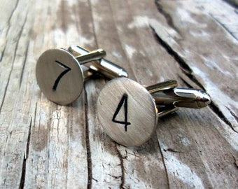 Custom Number Cuff Links, Gift Idea For Him, Hand Stamped