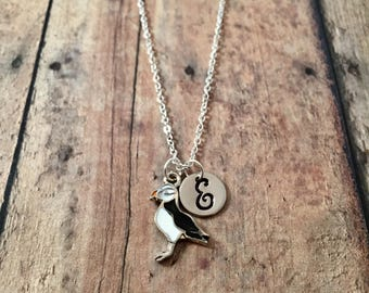 Puffin initial necklace - puffin jewelry, bird jewelry, bird necklace, nautical jewelry, sea bird jewelry, nautical necklace, puffin pendant