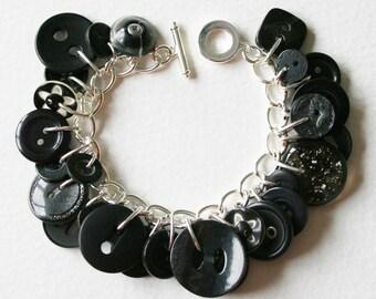 Button Charm Bracelet Black As Night Stylish Chic