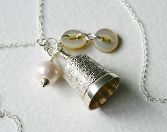 Antique Thimble Charm Necklace Mother Of Pearl Buttons Freshwater Pearl Charm