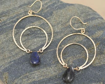 crescent moon earrings, 14k gold filled moons with labradorite drops, Rachel Wilder Handmade Jewelry