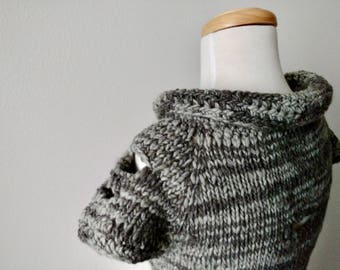 Winter Trees Oversweater - Layering Top, Hand Knit Sweater, Women's Sweater, 100% Wool Bark Grey High Rolled Collar Ooak  Slow Fashion