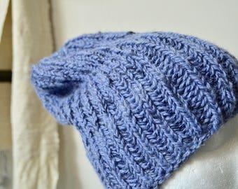 Periwinkle Blue Alpaca Marl Beanie, Navigator Beanie, Hand Knit Hat, Foldable, Slouchable, Hand Knit in Alpaca/Merino/Bamboo/Angelina Marle