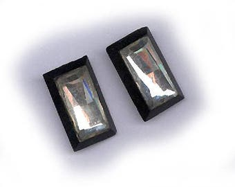 vintage RECTANGLE MIRROR glass cabochons PAIR antique cabochon black and mirror two loose cabochon flat back cabochons