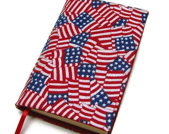 Book cover, STANDARD SIZE paperback book cover, mass market size, book protector, cotton, padded cover, American Flags