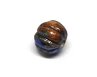 Blue brown ceeramic bead