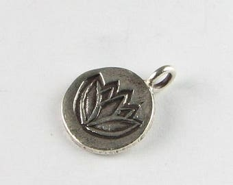 SHOP SALE Stamped Lotus Flower Charm Blossom Bud Hill Tribe Fine Silver Flower Charm Pendant 13mm Across (1 piece)