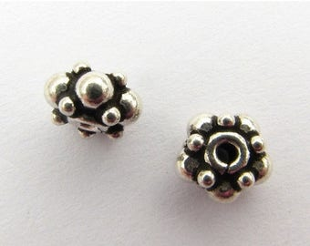 SHOP SALE 7mm Antiqued Bali Sterling Silver Dotted Rondelle Beads (2 pieces)