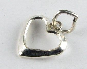 SHOP SALE Sterling Silver .925 Open Heart Charm Pendant - Jewelry Charm, Bracelet Charm, Necklace Charm (1 piece)