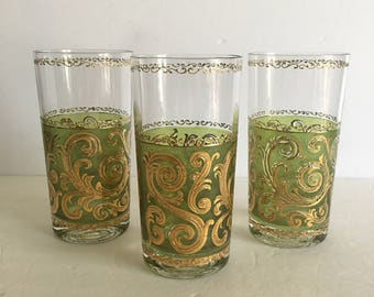 Culver Toledo Ice Tea Tumbler Glasses Mid Century Barware Replacements Green and Gold Hollywood Regency