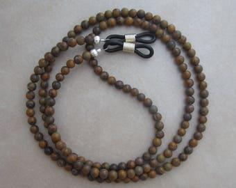 chrysanthemum stone eyeglass chain holder silver ends