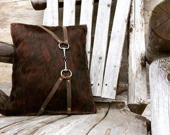 Leather Pillow - Cowhide -  Equestrian - Snaffle Bit - -Horse Lover - Distressed Dark Brown - Brindle Hide - Home Decor - Cabin - Stacyleigh