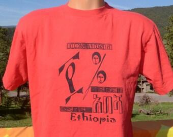 vintage 80s tee shirt ETHIOPIA abesha africa travel t-shirt Medium