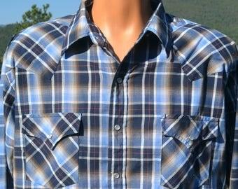 vintage 80s shirt plaid WESTERN blue brown pearl snap rockstar cowboy XL Large plains