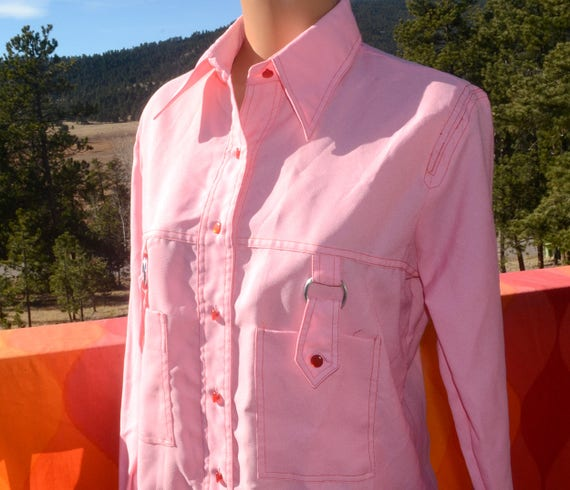 vintage 60s blouse MISS HOLLY disco pink button down shirt women's Medium 38 butterfly collar 70s