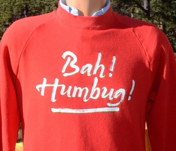 vintage 80s sweatshirt BAH HUMBUG christmas crazy xmas raglan Large Medium red funny scrooge