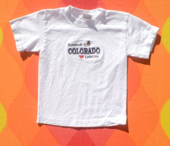 vintage 90s kids tee COLORADO somebody loves me teddy bear t-shirt youth children's Small