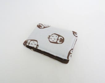 Card case, owl fabric, blue and brown cotton owl design, cotton case