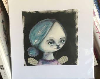 Original watercolor painting primitive angel girl blueish