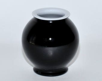 Murano Glass Carlo Moretti Black & White Cased Glass Vase