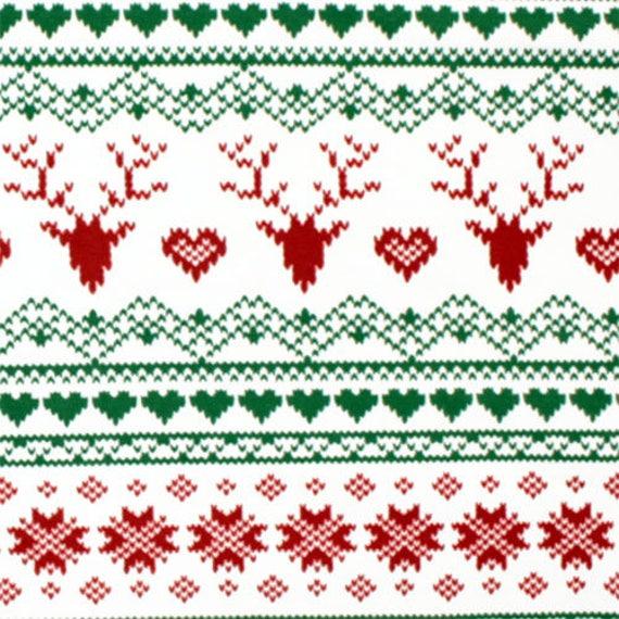 Fair isle Knit Fabric By The Yard Nordic Snowflake Reindeer