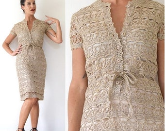 SUMMER SALE / 20% off Vintage 60s 70s Metallic Gold and Taupe Crocheted Straw Wiggle Dress (size small, medium)