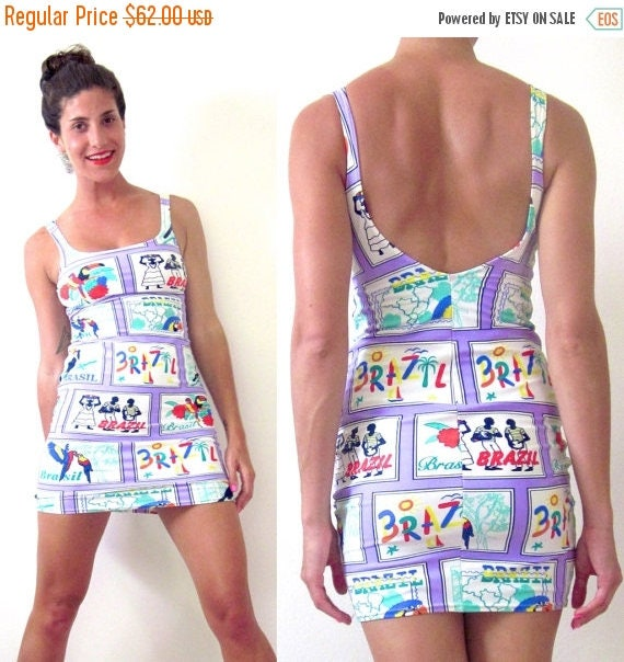 SUMMER SALE / 20% off Vintage 80s Welcome to Brazil Graphic Bodycon Low Back Mini Dress (size small, medium)