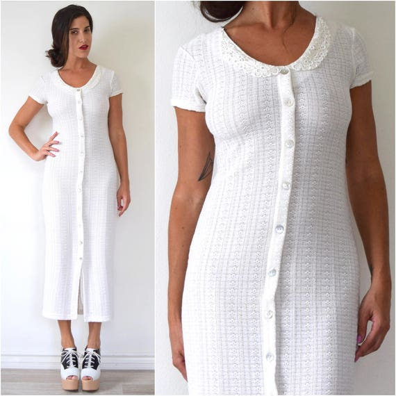 SUMMER SALE/ 30% off Vintage 90s Eggshell White Knit Faux Button Front Lace Collar Midi Dress (size small, medium)