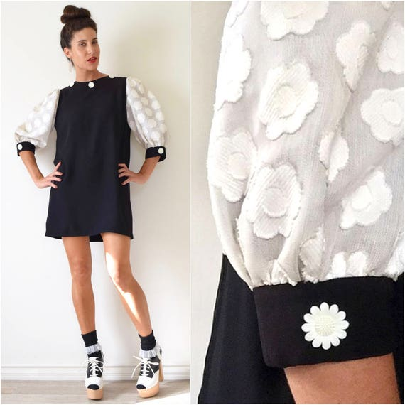 Vintage 60s Black and White Mod Mini Dress with Textured Flower Power Print Sleeves and Matching Daisy Buttons (size medium, large)