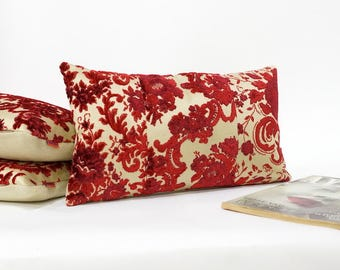 Luxury Red Velvet Lumbar Pillow, Vintage Fabric Cushion Cover, Cottage Chic Home Decor Handmade by EllaOsix