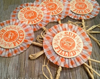 5 Farmhouse Dairy Flowers, Upcycled Milk Bottle Caps, Sun Filled, Orange Gingham, HandMade Decor Accents