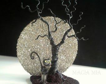 Full Moon Cat Tree Decoration, Silver & Black German Glass Glitter, Black Cat
