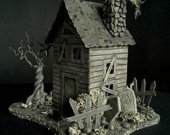 Handmade Putz House Tombstones Graveyard Miniature Mini House Edgar Allan Poe OOAK Lighted