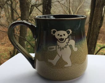 Grateful Dead Steal Your Face Coffee Mug Etched Engraved LARGE Dancing Bear
