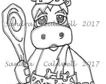 1699 Bam Bam Hippo Digi Stamp  ON SALE