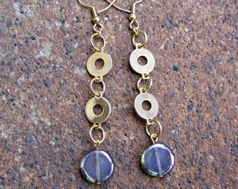 Eco-Friendly Dangle Earrings - A Delicate Balance - Recycled Vintage Metal and Iridescent Blue Glass Beads