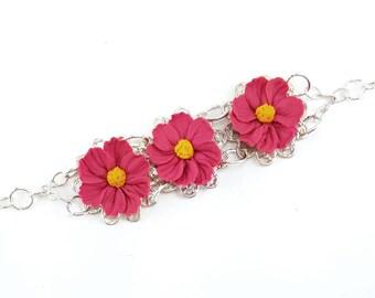 Three Cosmos Flower Vintage Style Bracelet - Trio Cosmos Jewelry, Cosmos Flowers Filigree Bracelet, Pink Flower Jewelry, Pink Cosmos