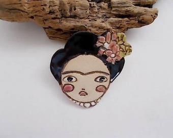 Handmade Ceramic Frida Face Pendant