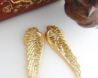 BRASS * (1 Pair) Angel Wings Stamping ~ Victorian Jewelry  Ornament Findings (C-702)