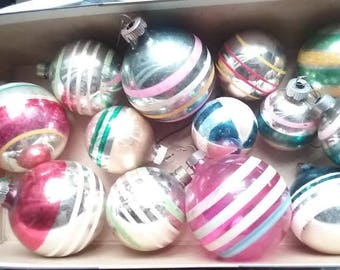 Vintage 1950's Lot of 13 Striped Christmas Ornaments