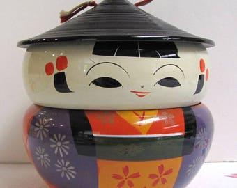 Vintage Lacquerware Kokeshi Stacking Bowls, Lacquer Kokeshi Doll Box, Lacquer Rice Bowl, Lacquerware Bowls, Made in Japan, VGC, Bento