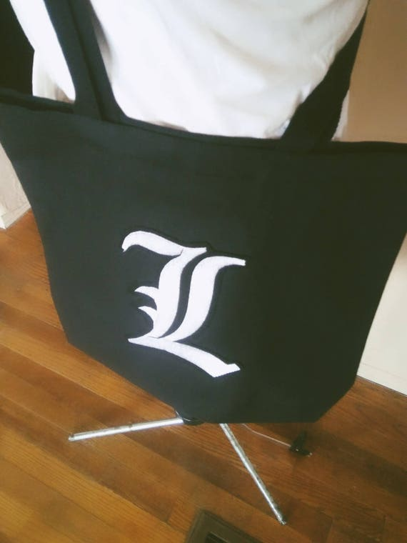 Messenger tote bag long strap black with old english letter