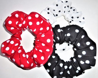 3 Black Red White Polka Dots Fabric Hair Scrunchies by Sherry Ties Scrunchie Ponytail Holders