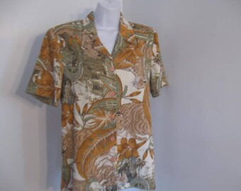 Vintage Blouse Ladies African and Leopard Print Button Down Shirt by Miss Alliage size 8