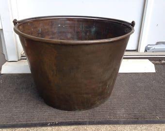 """Large Antique Copper Kettle Pot Cauldron Iron Bail 12"""" High 19"""" Diameter"""