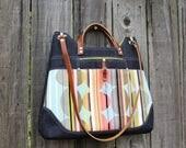 Purse, Handbag Shoulder bag, Chic modern gunmetal denim mod circles with leather straps
