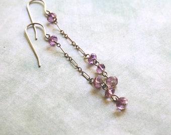 Amethyst Silver Chain Drop Earrings , Long Purple Amethyst Dangle Earrings , Minimalist Amethyst Gemstone Drop Earrings