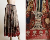 Vintage India Cotton Skirt - Hippie Boho Bohemian Medallion Border Floral Print Indian Cotton Style Gauzy Skirt - Medium