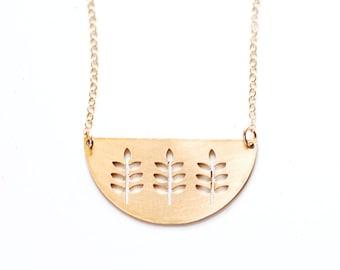 Midcentury Branch Half Moon Necklace | Vintage Inspired | Brass Necklace | Gold Necklace | Branch Necklace | Leaf Necklace | Half Circle